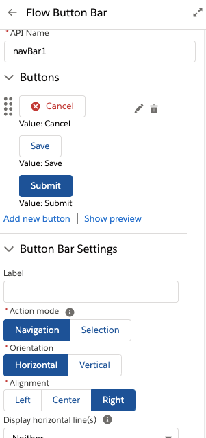 Configuration Panel using the new Custom Property Editor UI in Navigation Mode